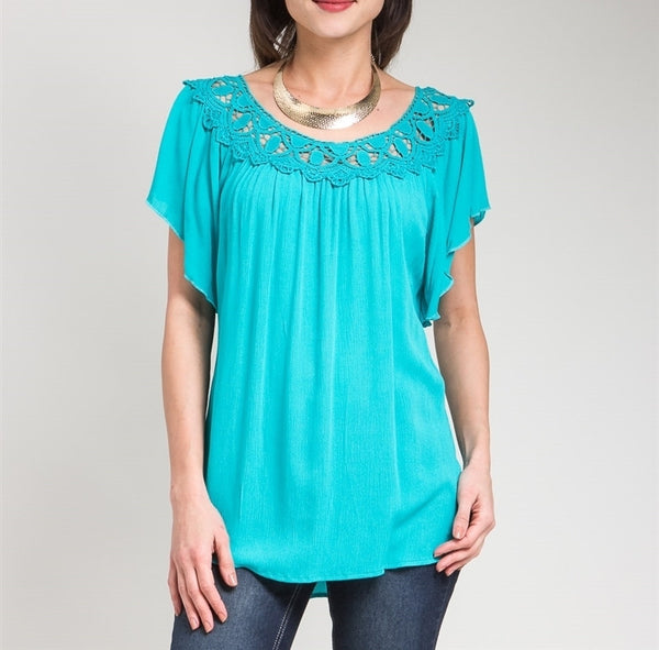 Flutter Sleeve Lace Top in Blue