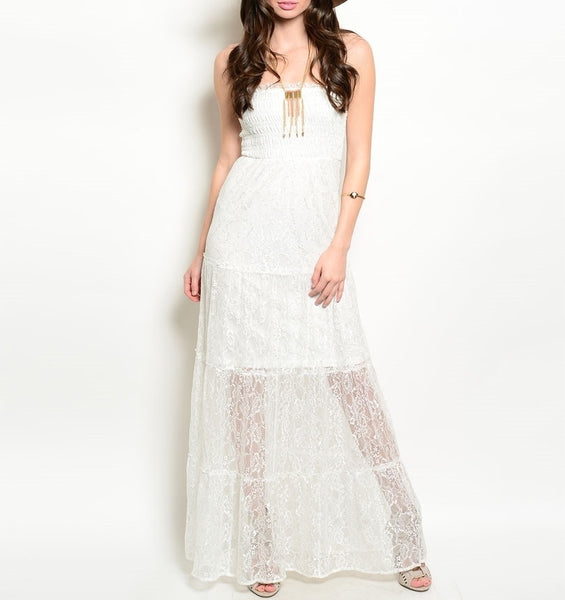 Strapless Lace Lined Maxi Dress in Ivory