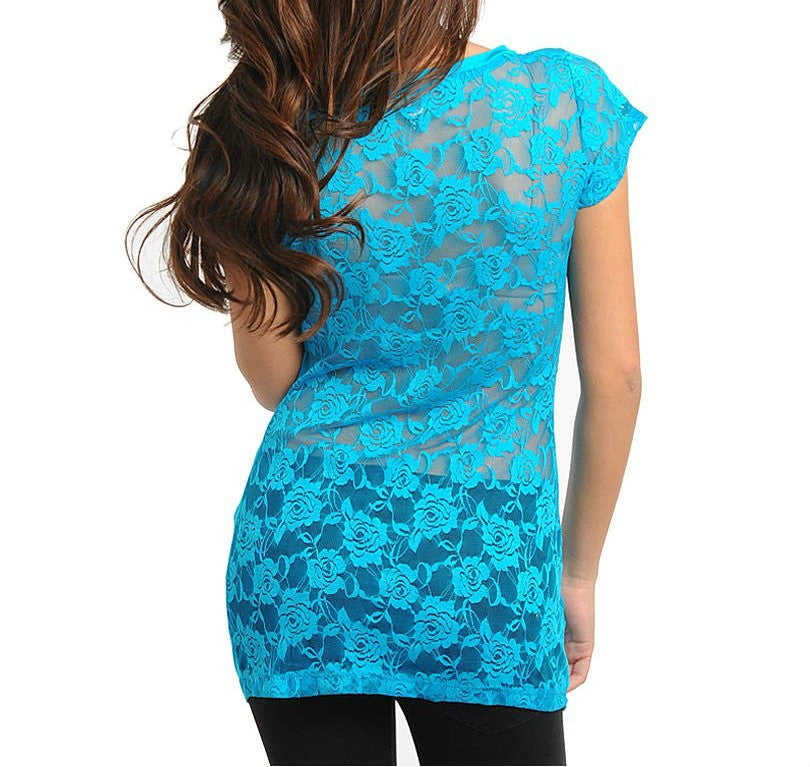 Lace Back Light Tee in Blue