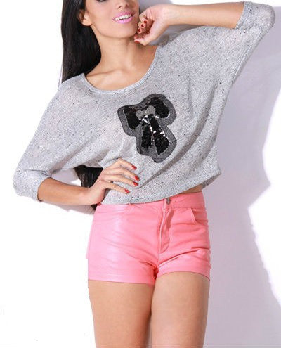 Blow & Sequin Designed Open Back Crop Top Sweater in Gray