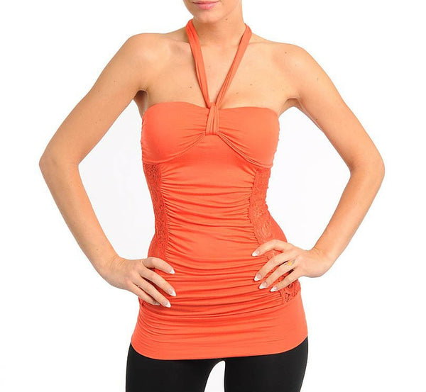 Lace Halter Top in Orange