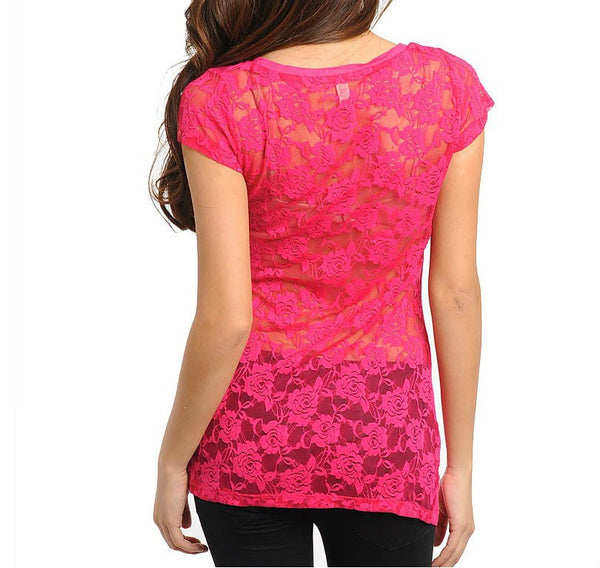 Lace Back Light Tee in Fuchsia