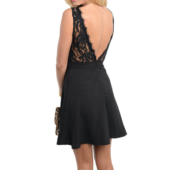 Lace Trim Fit and Flare Dress in Black