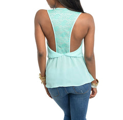 V-Neck Empire Waist Wrap Top in Blue