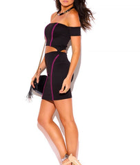Off Shoulder Cut Out Waist Bodycon Dress in Black & Pink
