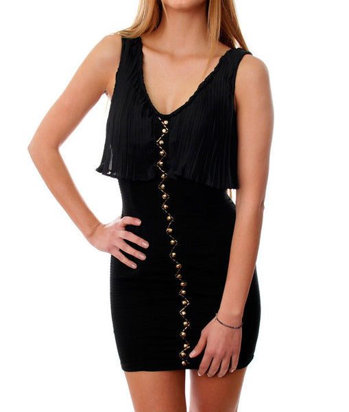 Draped Sheath Dress in Black