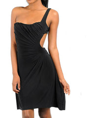 One Shoulder Cut Out Midi Dress in Black