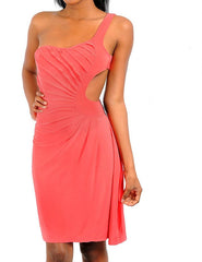 One Shoulder Cut Out Midi Dress in Coral