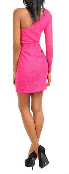 Floral Lace One Shoulder Long Sleeve Dress in Pink