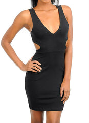 V-Neck Sleeveless Cut-Out Mini Dress in Black
