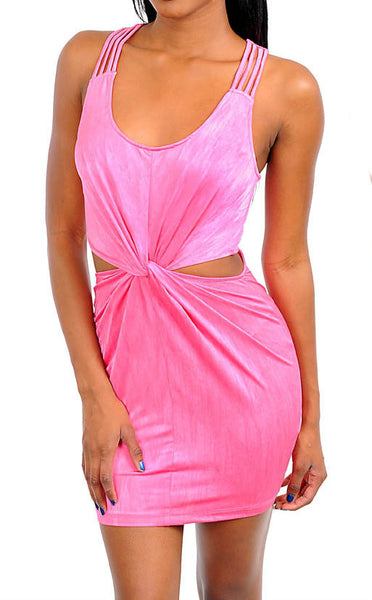 Gathered Waist Cut-Out Dress in Pink