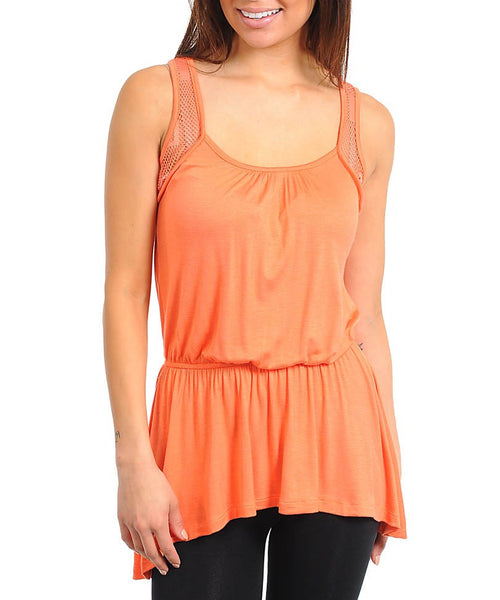 Hi Lo Empire Waist Top in Orange