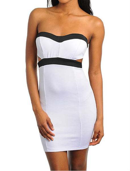 Strapless Cut Out Contrast Dress in White & Black