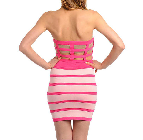 Strapless Cage Back Bandage Dress in Peach & Pink