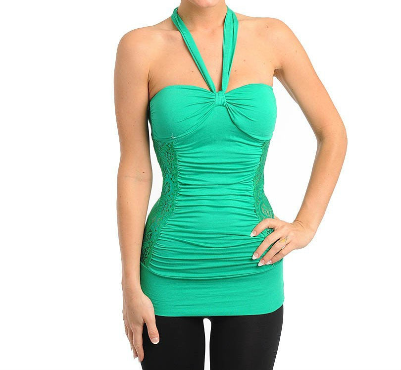 Lace Halter Top in Green