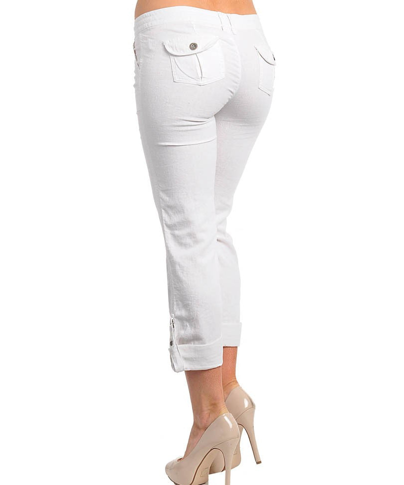 Adjustable Hem Cargo Pants in White