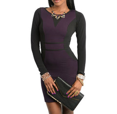 Long Sleeve Contrast Knit Dress in Purple & Black PETITES