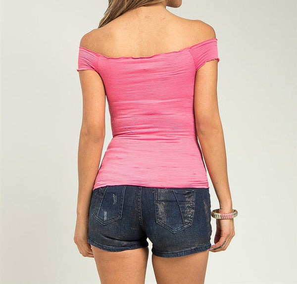 Off Shoulder Basic Stretch Top in Pink