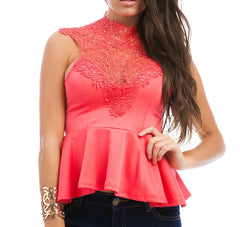 Sleeveless Crochet Lace Peplum Top in Coral