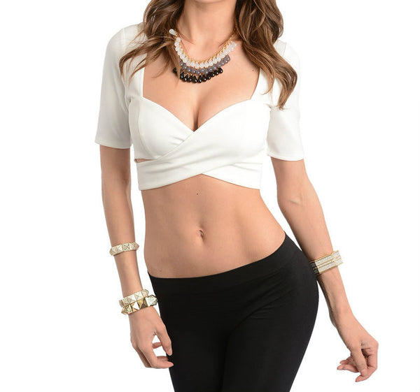 Cross-Over Cut Out Crop Top in Ivory PETITES
