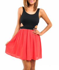 Sleeveless Cut-Out Chiffon Skater Dress in Red & Black