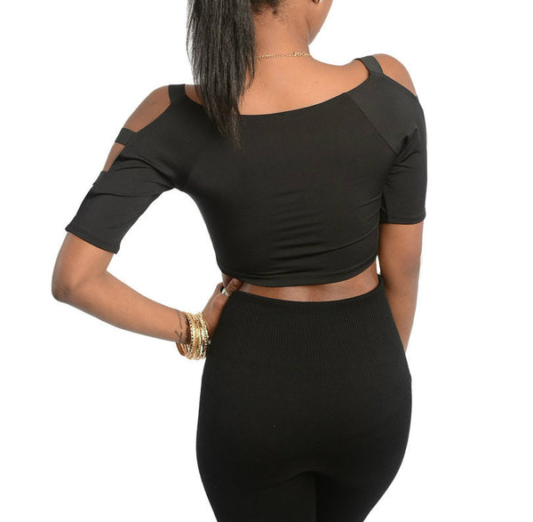 Banded Sleeve and Shoulder Strap Crop Top in Black