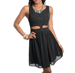 Cut Out Rhinestone Flowy Sleeveless Dress in Black