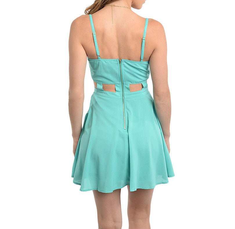 Cut Out Skater Dress in Jade