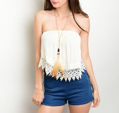 Crochet Hem Asymmetric Strapless Top in Cream