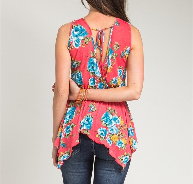 Sheer Overlap Floral Print Asymmetric Top in Red