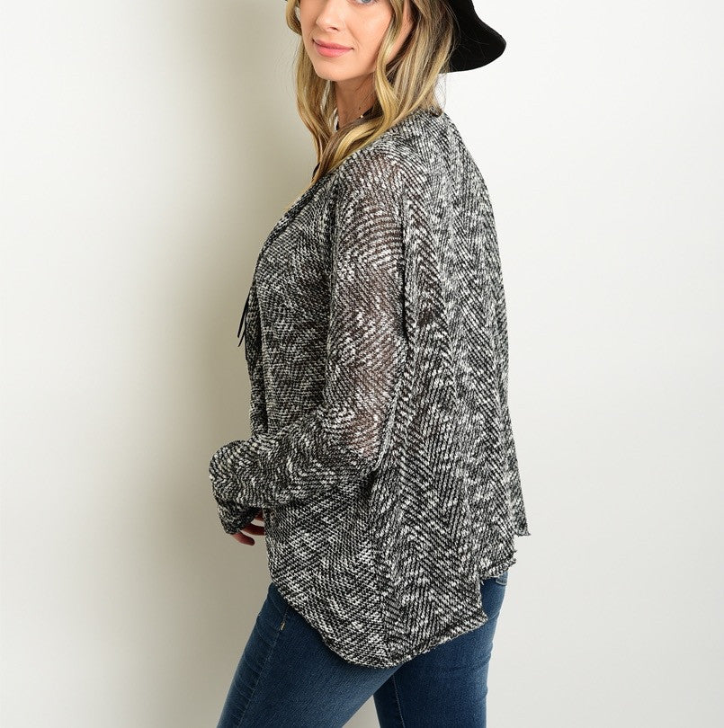 V Neck Plunge Slub Knit Sweater Top in Black & White
