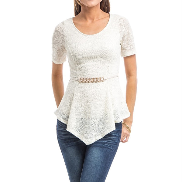 Aysmmetric Hem Lace Top in Cream