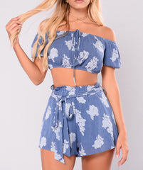Off Shoulder Crop Top and Shorts Two Piece Set in Denim Blue