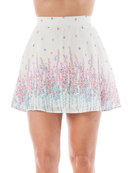 Floral Print Flowy Skater Skirt in Coral and Cream
