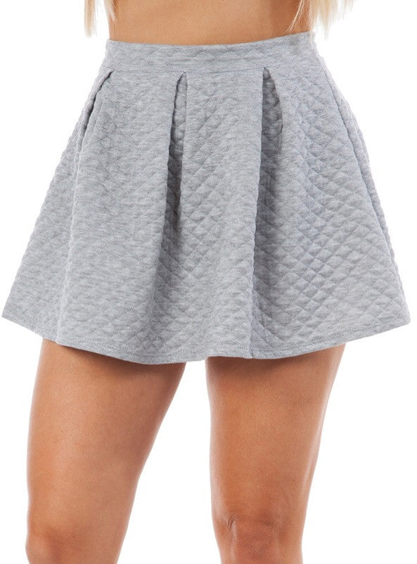 Pleated Scuba Skater Skirt in Gray
