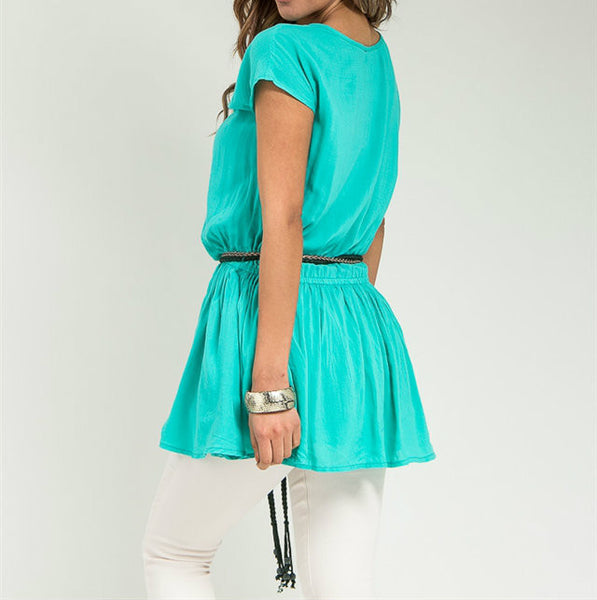 Short Sleeve Empire Waist Top with Belt in Turquoise