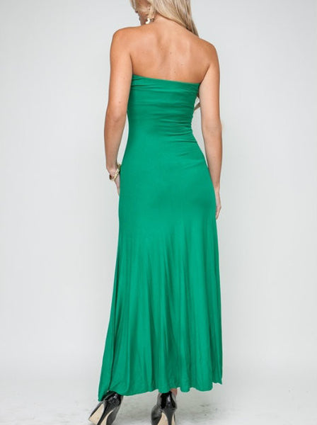 Strapless Flowy Maxi Dress in Green