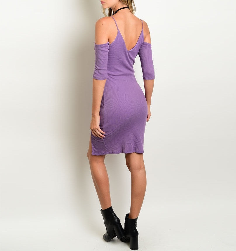 Cold Shoulder Ribbed Knit Dress in Purple
