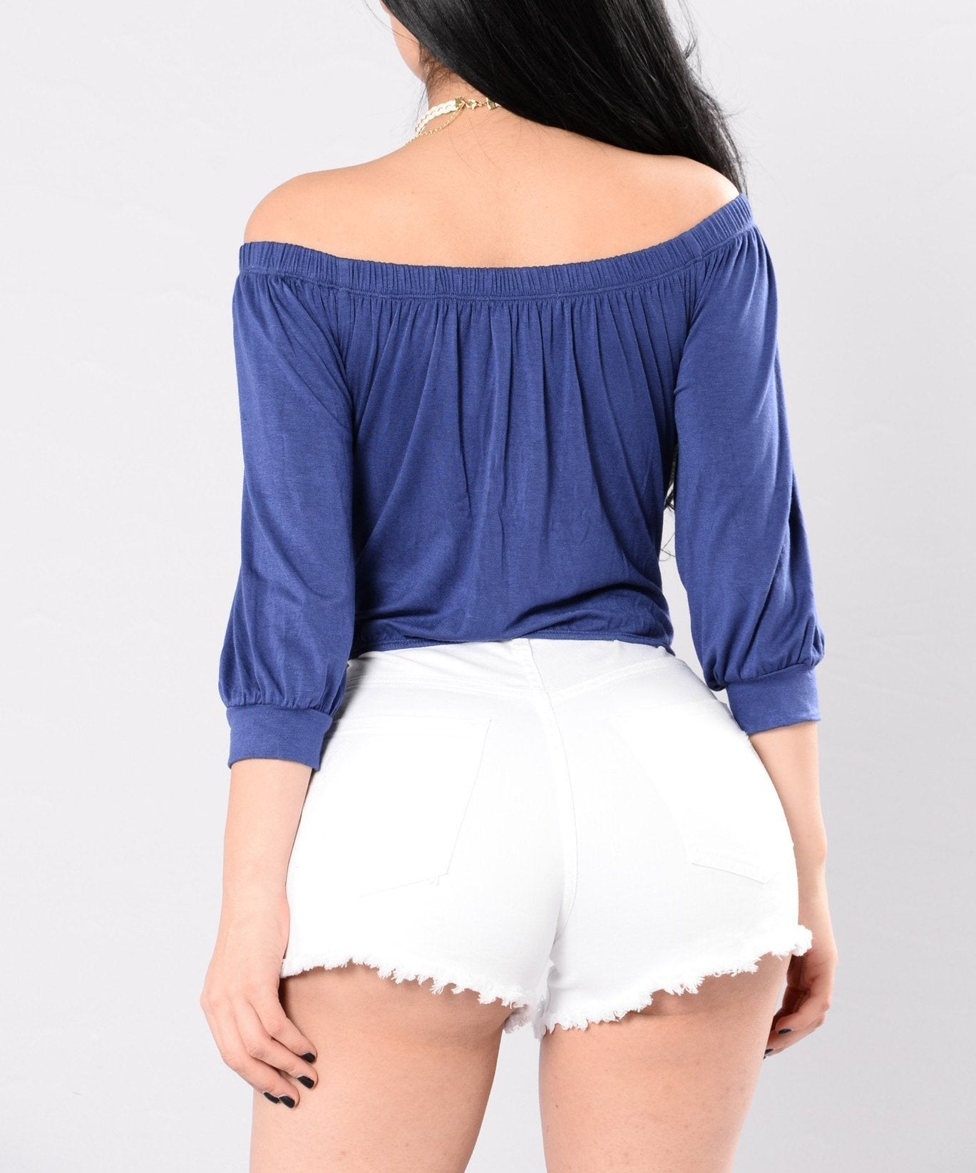 Knot Front Off Shoulder Crop Top in Blue