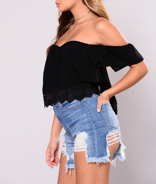 Off Shoulder Crop Top in Black
