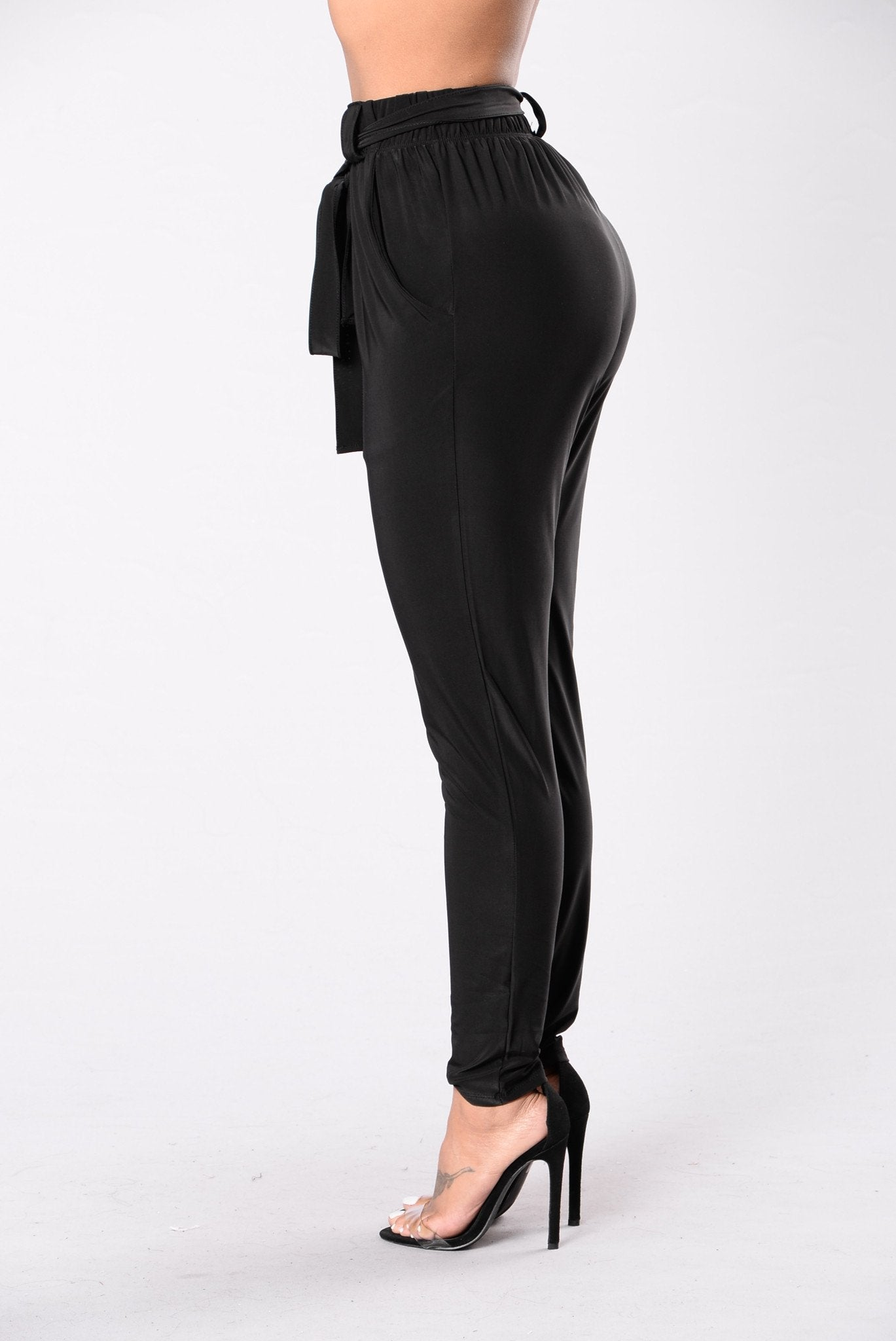 Tie Waist Harem Pants in Black