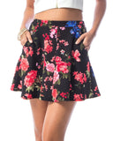 Floral Print Skater Skirt in Black and Pink