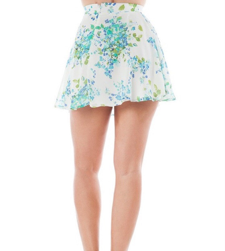 Floral Print Chiffon Flowy Skater Skirt in Blue and Cream
