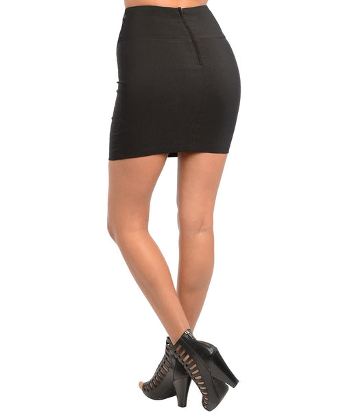 Laced High Waist Corset Mini Skirt in Black