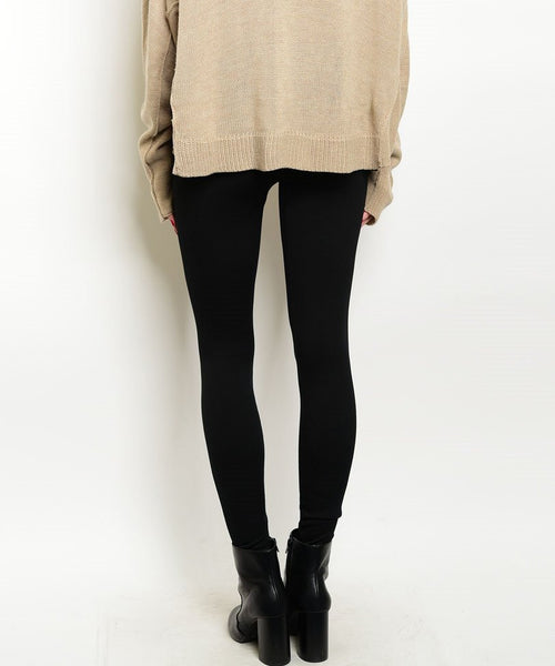 High Waist Thick Fleece Leggings in Black