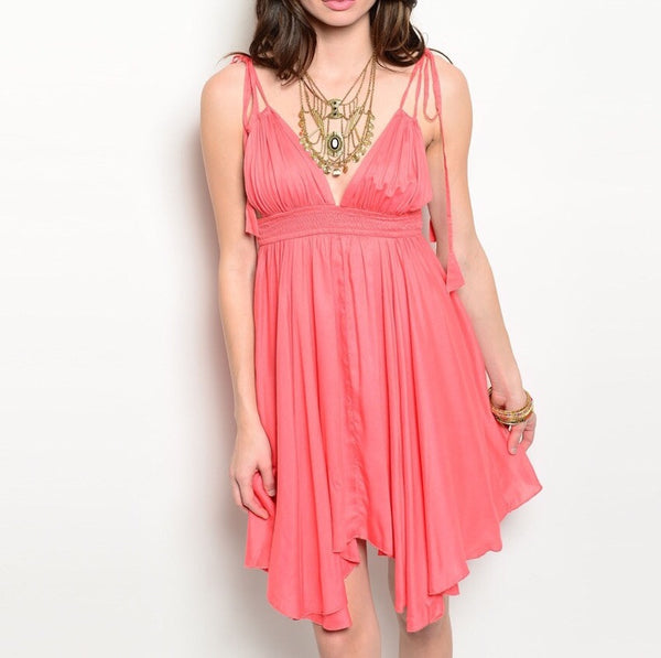 Low V-Cut Empire Waist Flowy Dress in Coral
