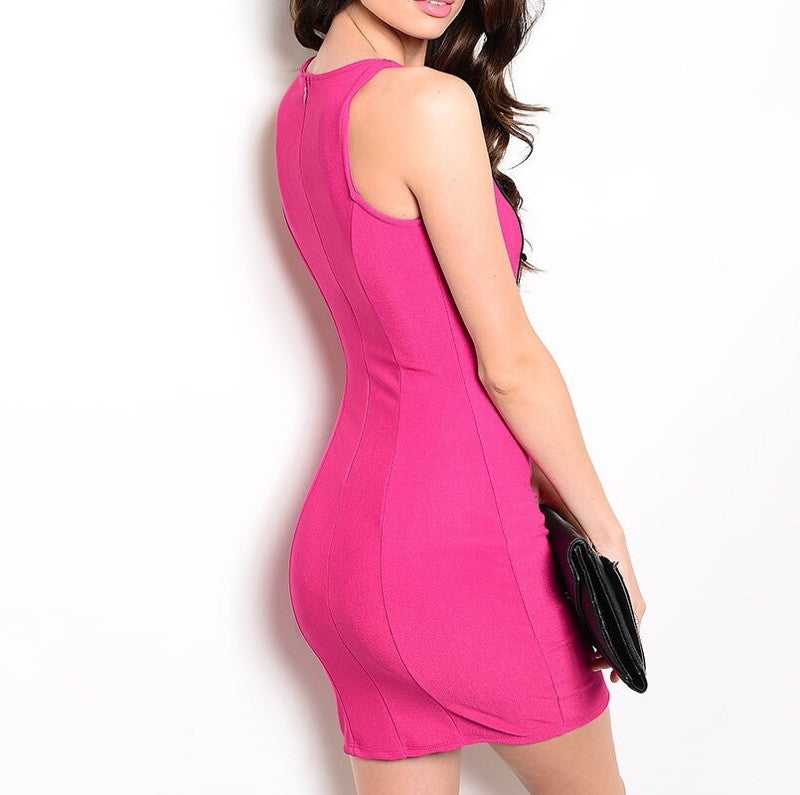 Cut Out Crochet Bodycon Dress in Magenta