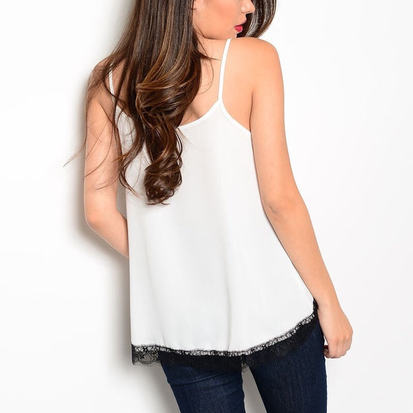 Lace Trimmed Tulip Hem Spaghetti Strap Top in Ivory & Black