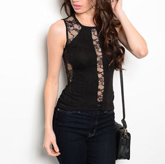 Lace Panel Form Fitted Sleeveless Top in Black
