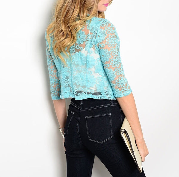 Rhinestone & Lace Sheer Bolero in Light Blue